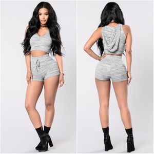|SET| Gray High-Waisted Shorts & Hooded Crop Top